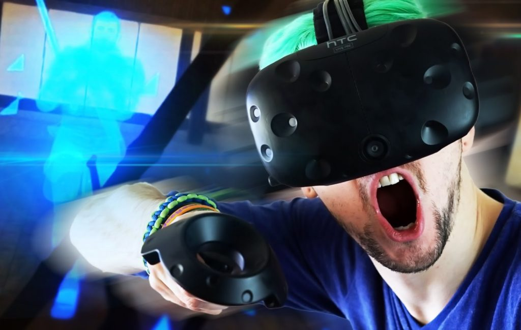 holopoint player with htc vive headset and controller with game images in background