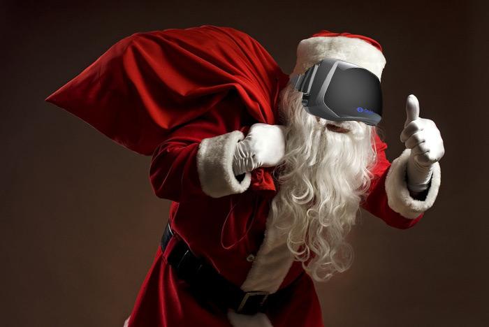 oculus rift santa wearing suit with white gloves image description