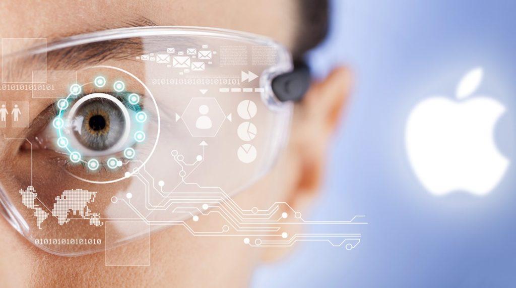 mock up of apple ar glasses with logo tech image description